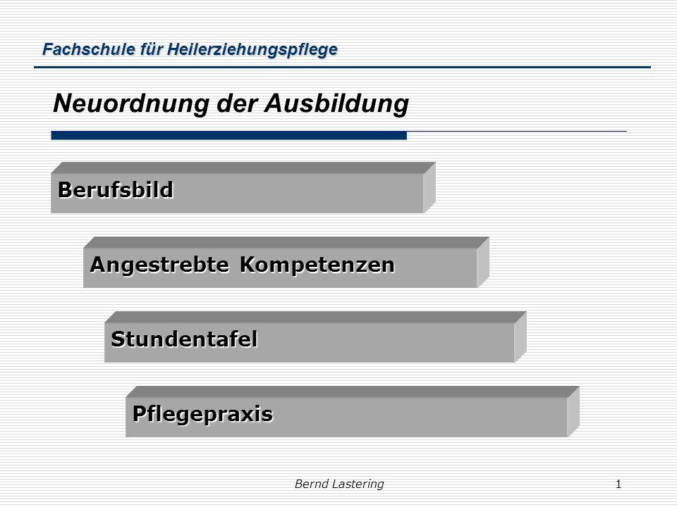 Fachschule für Heilerziehungspflege Bernd Lastering1 Neuordnung der Ausbildung Pflegepraxis Stundentafel Berufsbild Angestrebte Kompetenzen