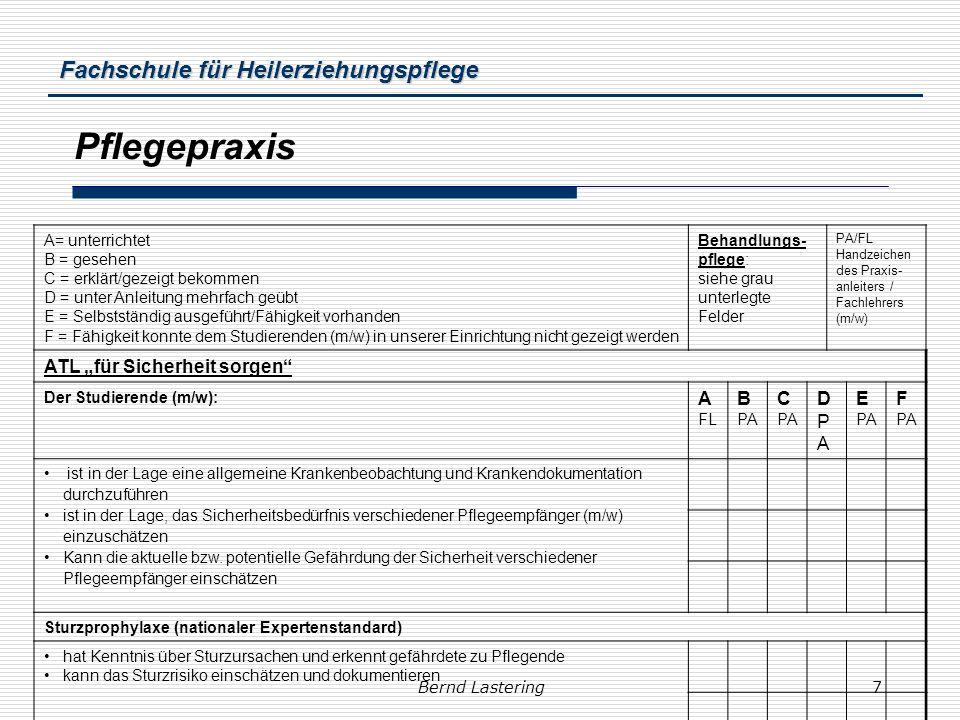 Fachschule für Heilerziehungspflege Bernd Lastering7 Pflegepraxis A= unterrichtet B = gesehen C = erklärt/gezeigt bekommen D = unter Anleitung mehrfac