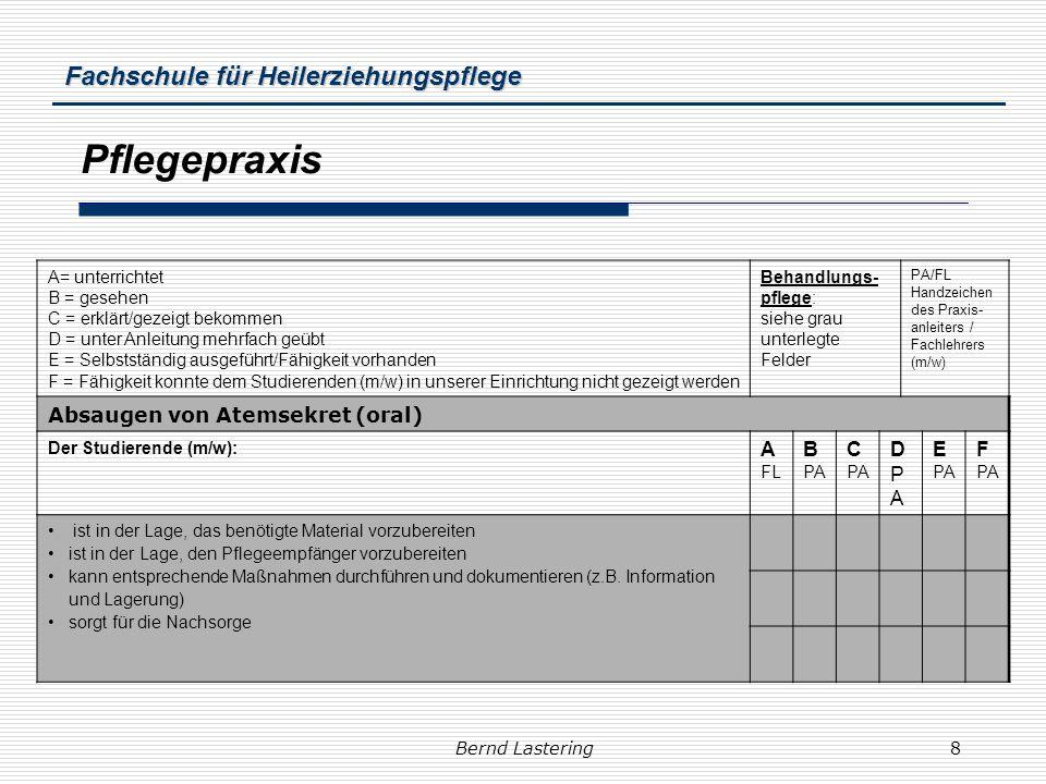 Fachschule für Heilerziehungspflege Bernd Lastering8 Pflegepraxis A= unterrichtet B = gesehen C = erklärt/gezeigt bekommen D = unter Anleitung mehrfac