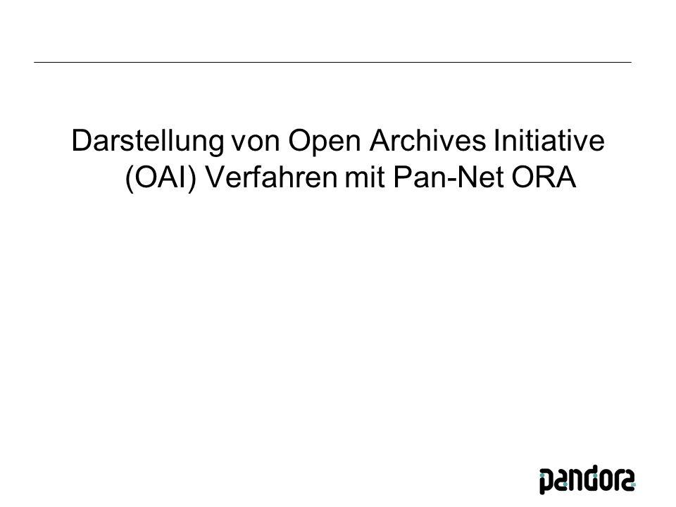 Darstellung von Open Archives Initiative (OAI) Verfahren mit Pan-Net ORA