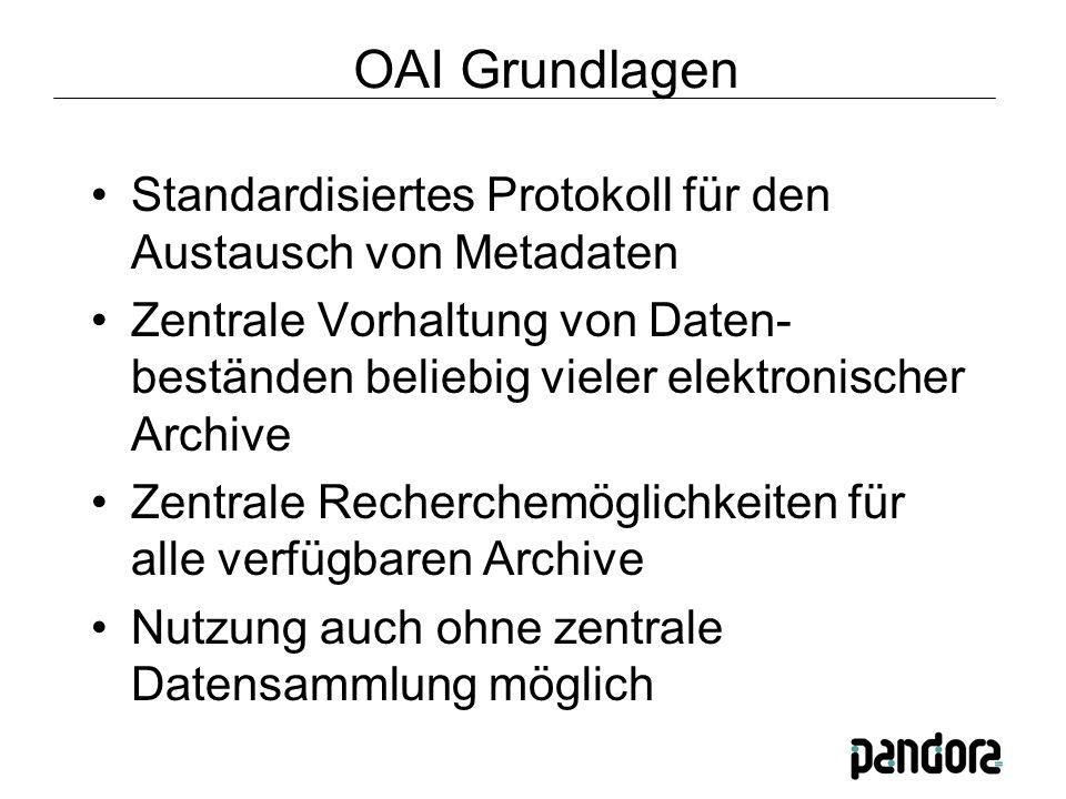 OAI Grundlagen Standardisiertes Protokoll für den Austausch von Metadaten Zentrale Vorhaltung von Daten- beständen beliebig vieler elektronischer Archive Zentrale Recherchemöglichkeiten für alle verfügbaren Archive Nutzung auch ohne zentrale Datensammlung möglich