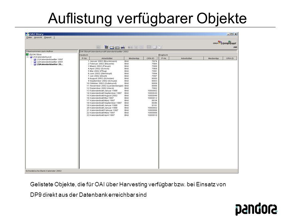 Gelistete Objekte, die für OAI über Harvesting verfügbar bzw.