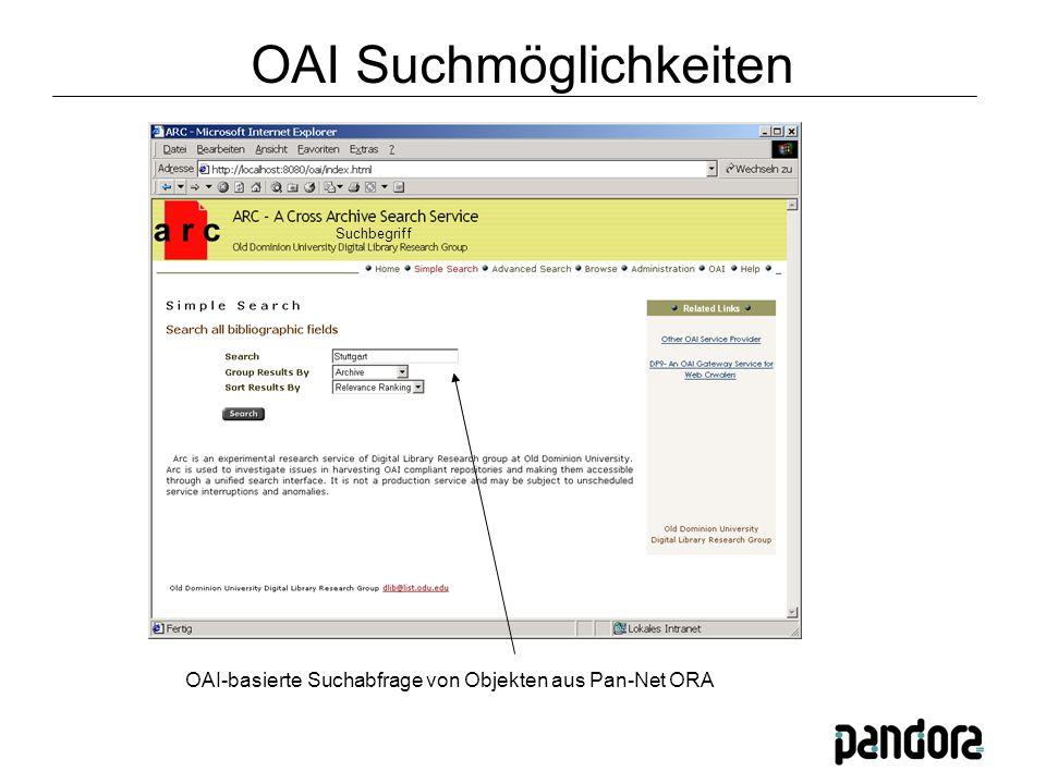OAI-basierte Suchabfrage von Objekten aus Pan-Net ORA Suchbegriff OAI Suchmöglichkeiten