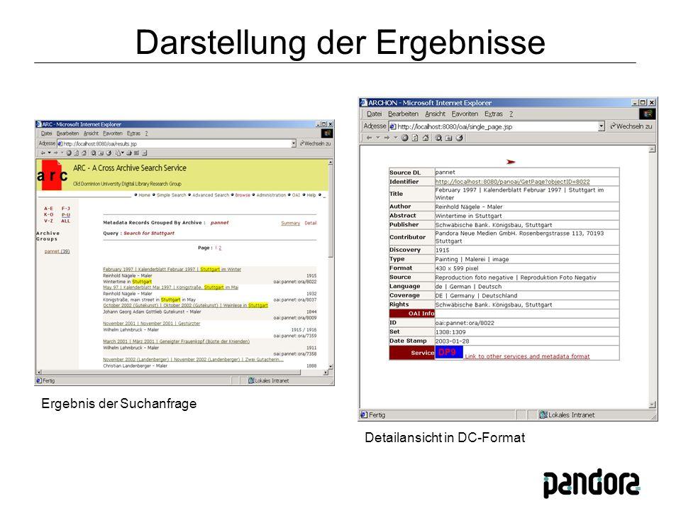 Ergebnis der Suchanfrage Detailansicht in DC-Format Darstellung der Ergebnisse
