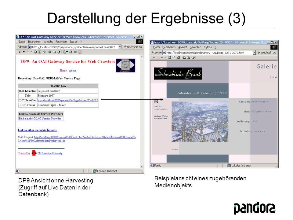 DP9 Ansicht ohne Harvesting (Zugriff auf Live Daten in der Datenbank) Beispielansicht eines zugehörenden Medienobjekts Darstellung der Ergebnisse (3)