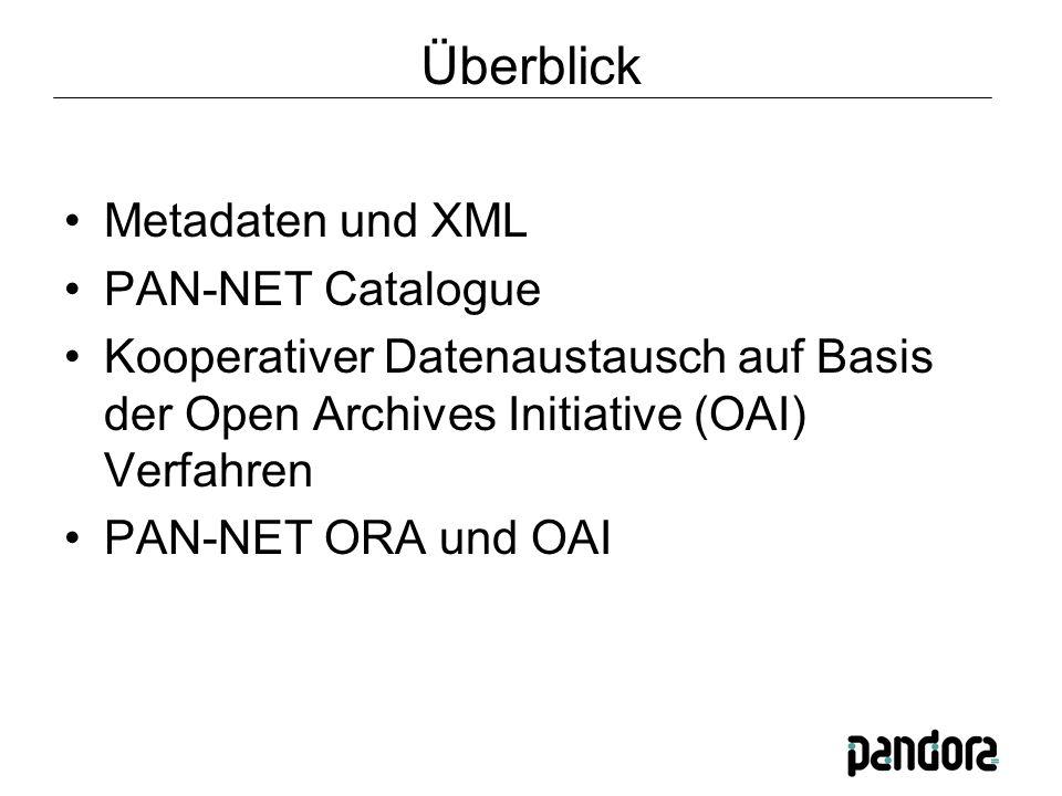 Überblick Metadaten und XML PAN-NET Catalogue Kooperativer Datenaustausch auf Basis der Open Archives Initiative (OAI) Verfahren PAN-NET ORA und OAI