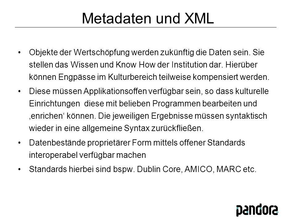 Metadaten und XML Objekte der Wertschöpfung werden zukünftig die Daten sein.