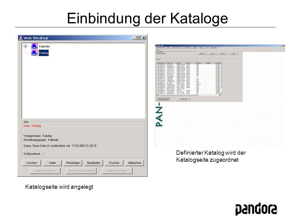 Katalogseite wird angelegt Definierter Katalog wird der Katalogseite zugeordnet Einbindung der Kataloge