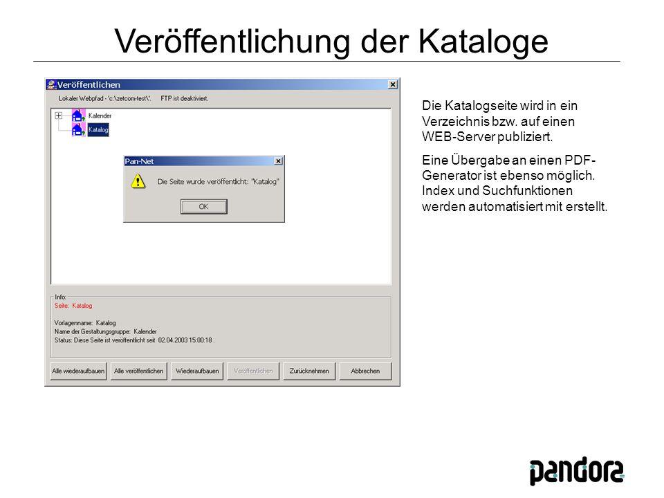 Die Katalogseite wird in ein Verzeichnis bzw. auf einen WEB-Server publiziert.