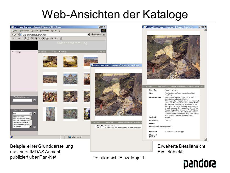 Beispiel einer Grunddarstellung aus einer IMDAS Ansicht, publiziert über Pan-Net Detailansicht Einzelobjekt Erweiterte Detailansicht Einzelobjekt Web-Ansichten der Kataloge
