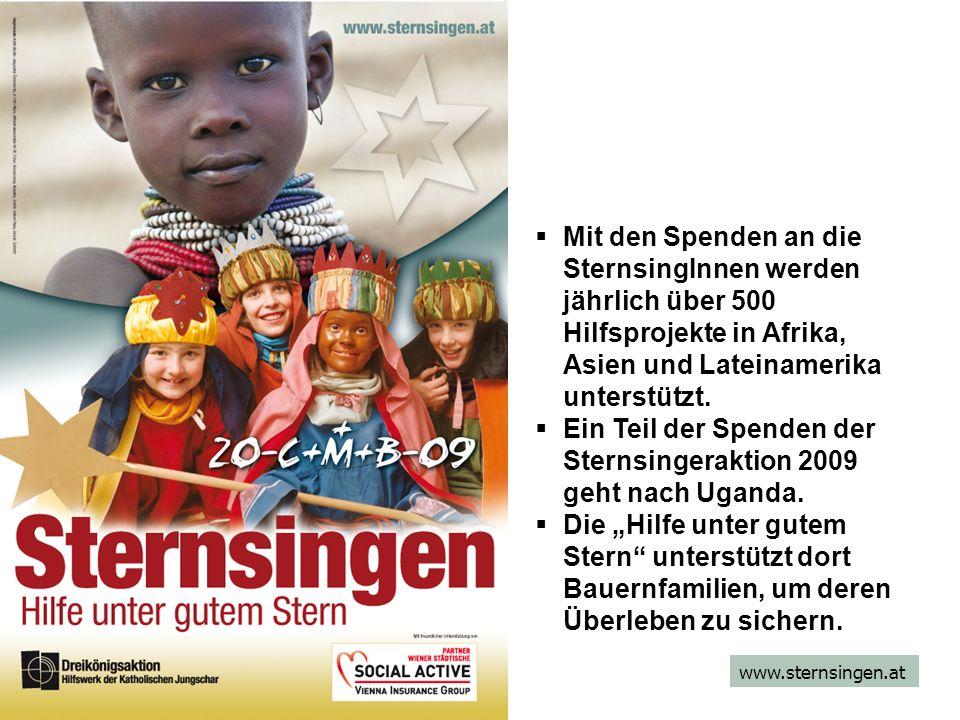 www.sternsingen.at Mit den Spenden an die SternsingInnen werden jährlich über 500 Hilfsprojekte in Afrika, Asien und Lateinamerika unterstützt.