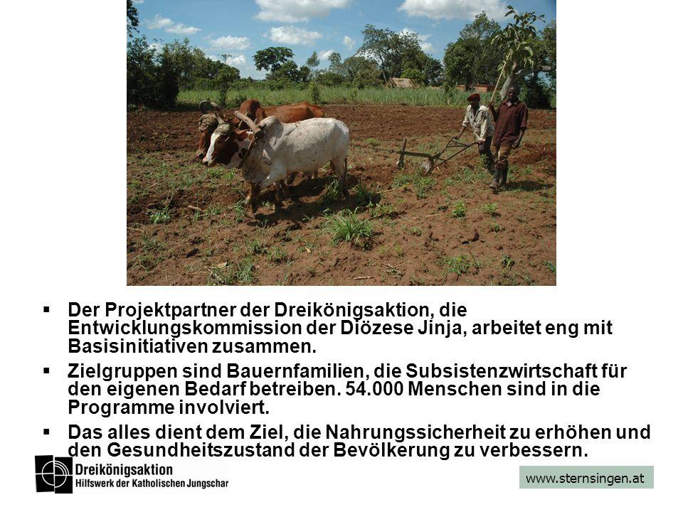 www.sternsingen.at Der Projektpartner der Dreikönigsaktion, die Entwicklungskommission der Diözese Jinja, arbeitet eng mit Basisinitiativen zusammen.