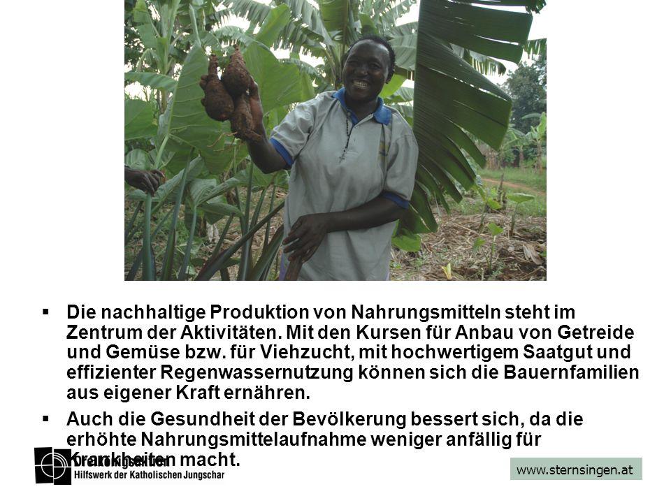 www.sternsingen.at Die nachhaltige Produktion von Nahrungsmitteln steht im Zentrum der Aktivitäten. Mit den Kursen für Anbau von Getreide und Gemüse b