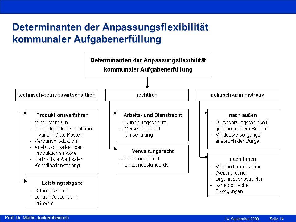 Prof. Dr. Martin Junkernheinrich 14. September 2009Seite 14 Determinanten der Anpassungsflexibilität kommunaler Aufgabenerfüllung