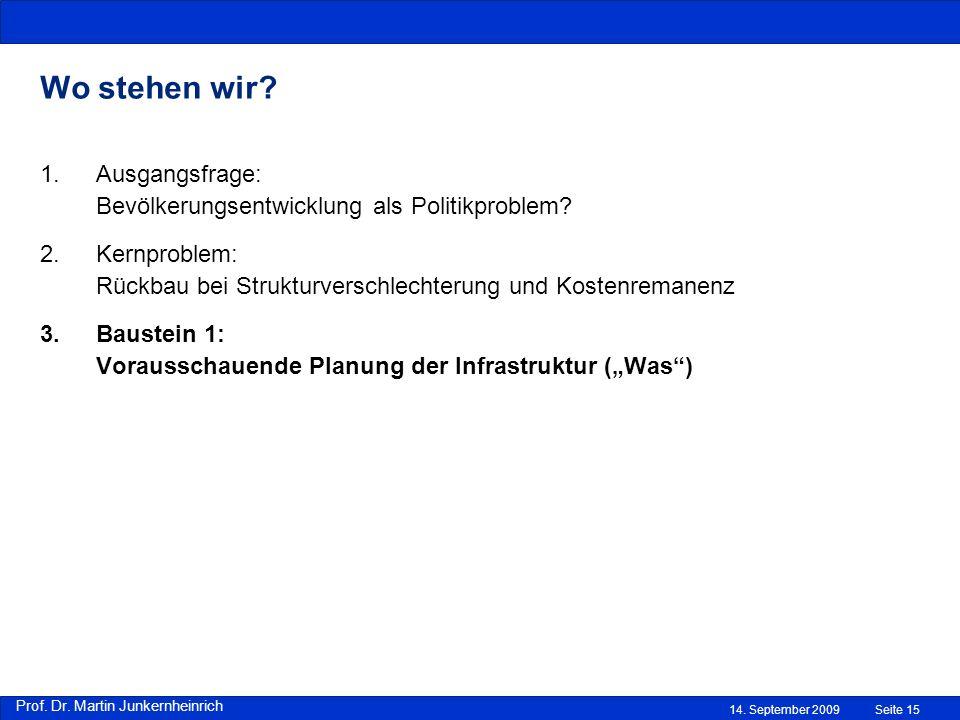 Prof. Dr. Martin Junkernheinrich 14. September 2009 Wo stehen wir? Seite 15 1.Ausgangsfrage: Bevölkerungsentwicklung als Politikproblem? 2.Kernproblem