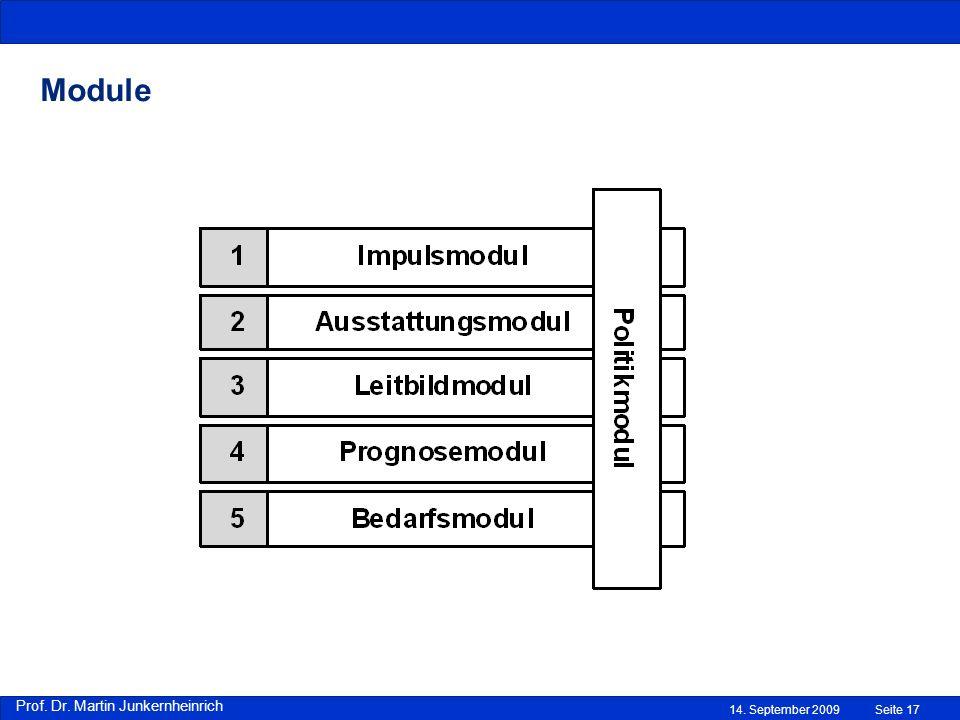 Prof. Dr. Martin Junkernheinrich 14. September 2009 Module Seite 17