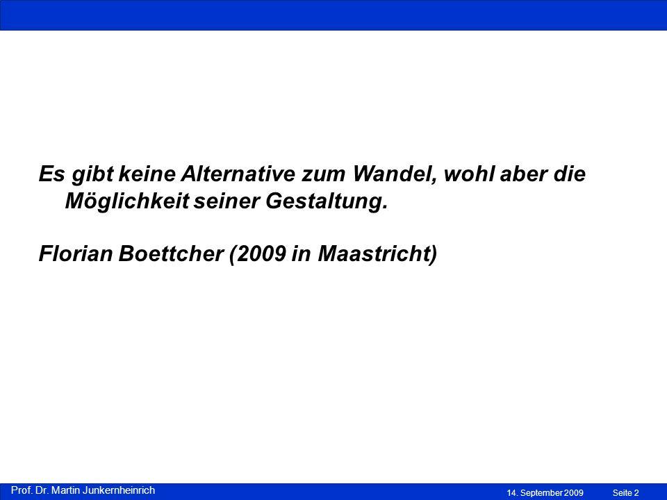 14. September 2009Seite 2 Es gibt keine Alternative zum Wandel, wohl aber die Möglichkeit seiner Gestaltung. Florian Boettcher (2009 in Maastricht)