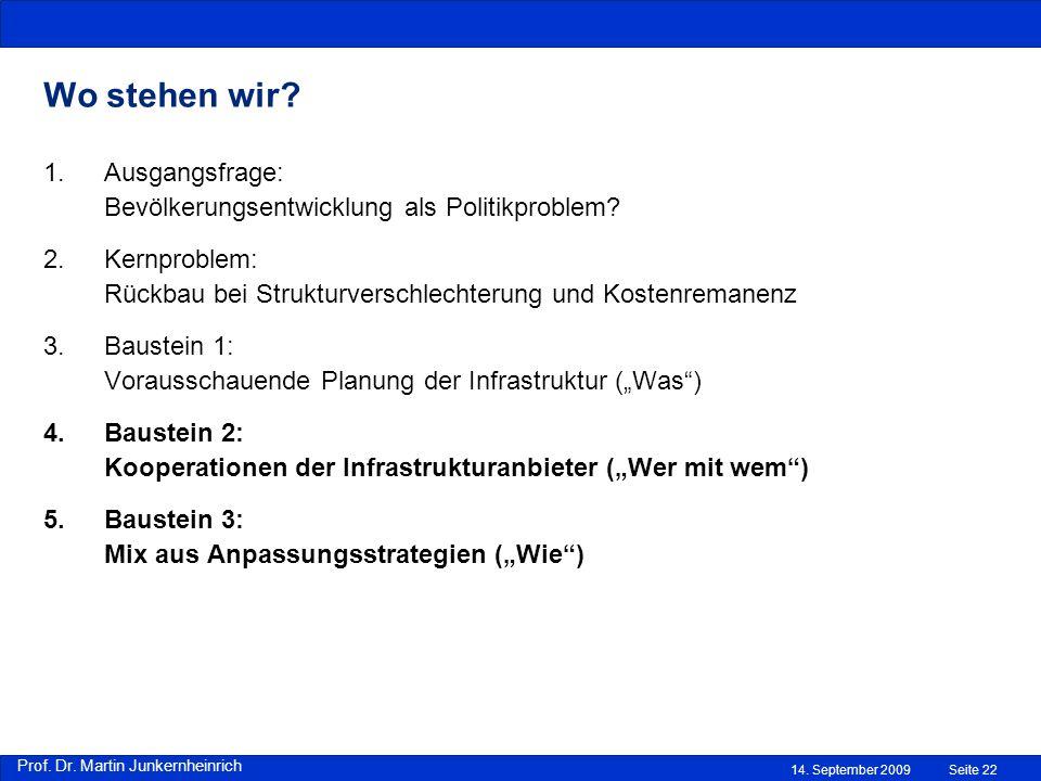 Prof. Dr. Martin Junkernheinrich 14. September 2009 Wo stehen wir? Seite 22 1.Ausgangsfrage: Bevölkerungsentwicklung als Politikproblem? 2.Kernproblem