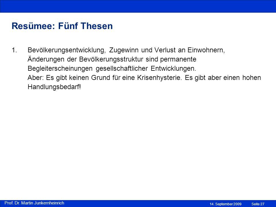 Prof. Dr. Martin Junkernheinrich 14. September 2009 Resümee: Fünf Thesen Seite 27 1.Bevölkerungsentwicklung, Zugewinn und Verlust an Einwohnern, Änder