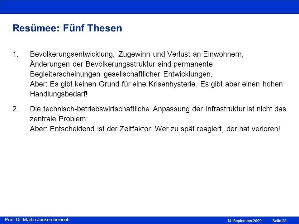 Prof. Dr. Martin Junkernheinrich 14. September 2009 Resümee: Fünf Thesen Seite 28 1.Bevölkerungsentwicklung, Zugewinn und Verlust an Einwohnern, Änder