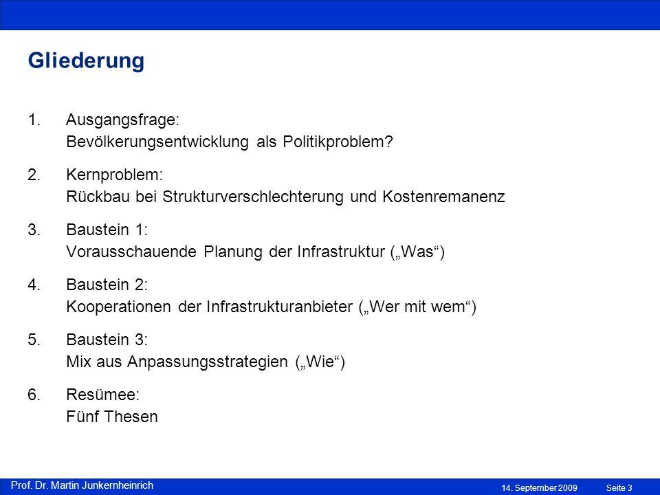 Prof. Dr. Martin Junkernheinrich 14. September 2009 Gliederung Seite 3 1.Ausgangsfrage: Bevölkerungsentwicklung als Politikproblem? 2.Kernproblem: Rüc