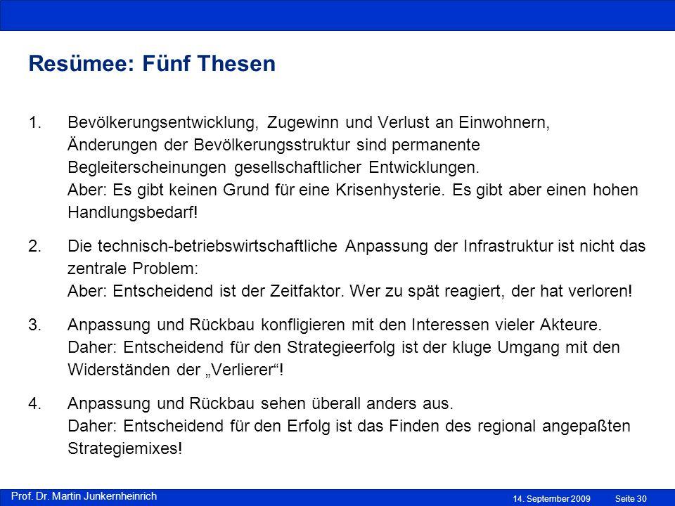 Prof. Dr. Martin Junkernheinrich 14. September 2009 Resümee: Fünf Thesen Seite 30 1.Bevölkerungsentwicklung, Zugewinn und Verlust an Einwohnern, Änder
