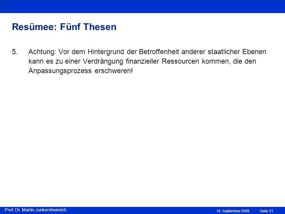 Prof. Dr. Martin Junkernheinrich 14. September 2009 Resümee: Fünf Thesen Seite 31 5.Achtung: Vor dem Hintergrund der Betroffenheit anderer staatlicher