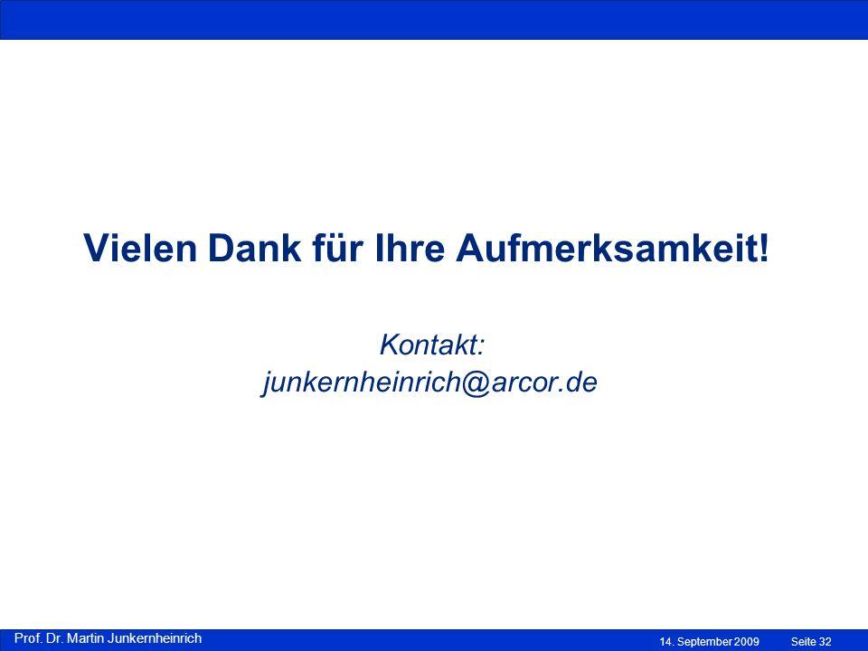 Prof. Dr. Martin Junkernheinrich 14. September 2009 Vielen Dank für Ihre Aufmerksamkeit! Kontakt: junkernheinrich@arcor.de Seite 32