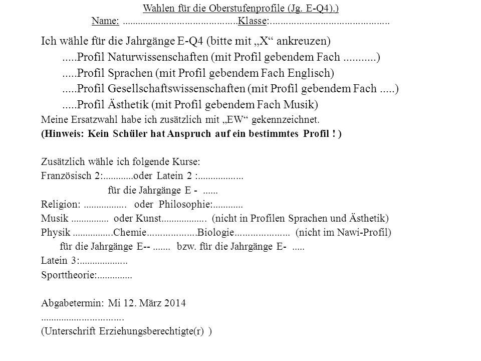 Wahlen für die Oberstufenprofile (Jg.