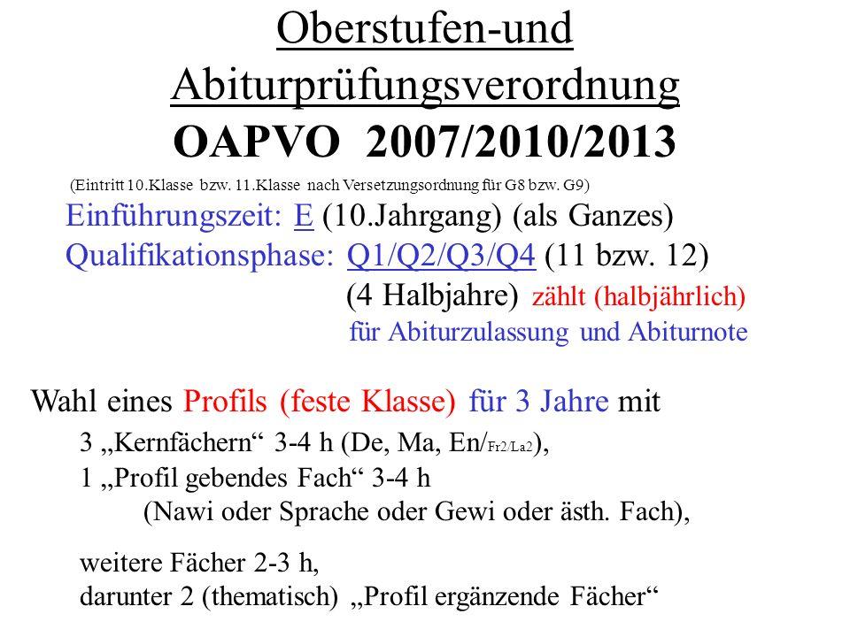 Oberstufen-und Abiturprüfungsverordnung OAPVO 2007/2010/2013 (Eintritt 10.Klasse bzw.