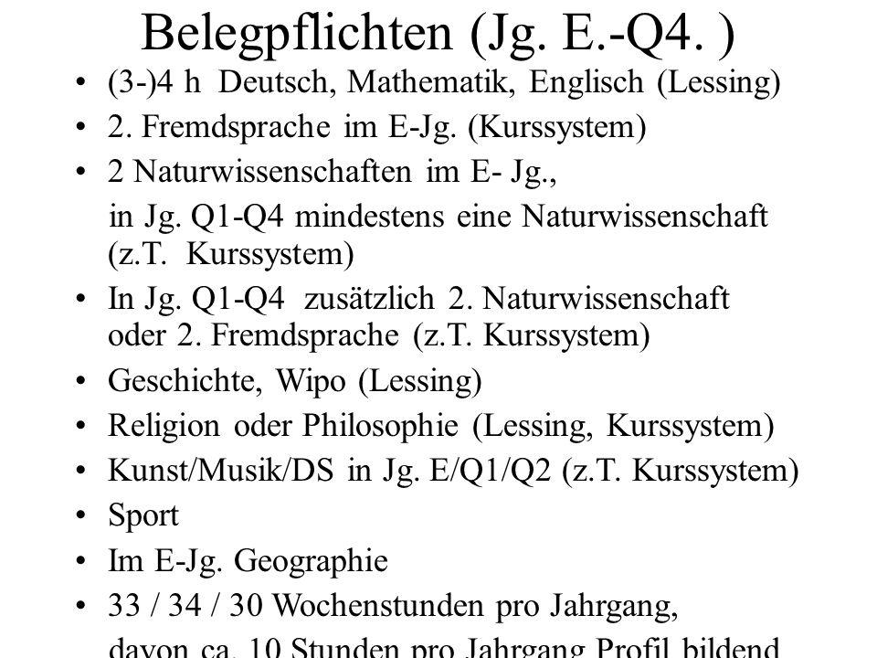 Belegpflichten (Jg.E.-Q4. ) (3-)4 h Deutsch, Mathematik, Englisch (Lessing) 2.