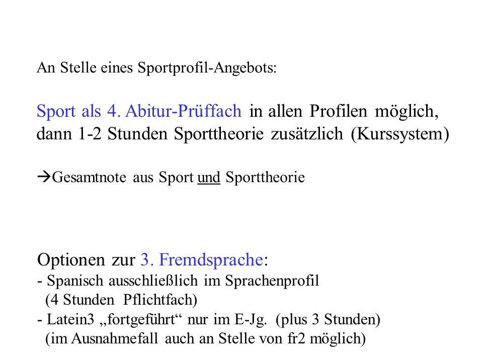 An Stelle eines Sportprofil-Angebots: Sport als 4.