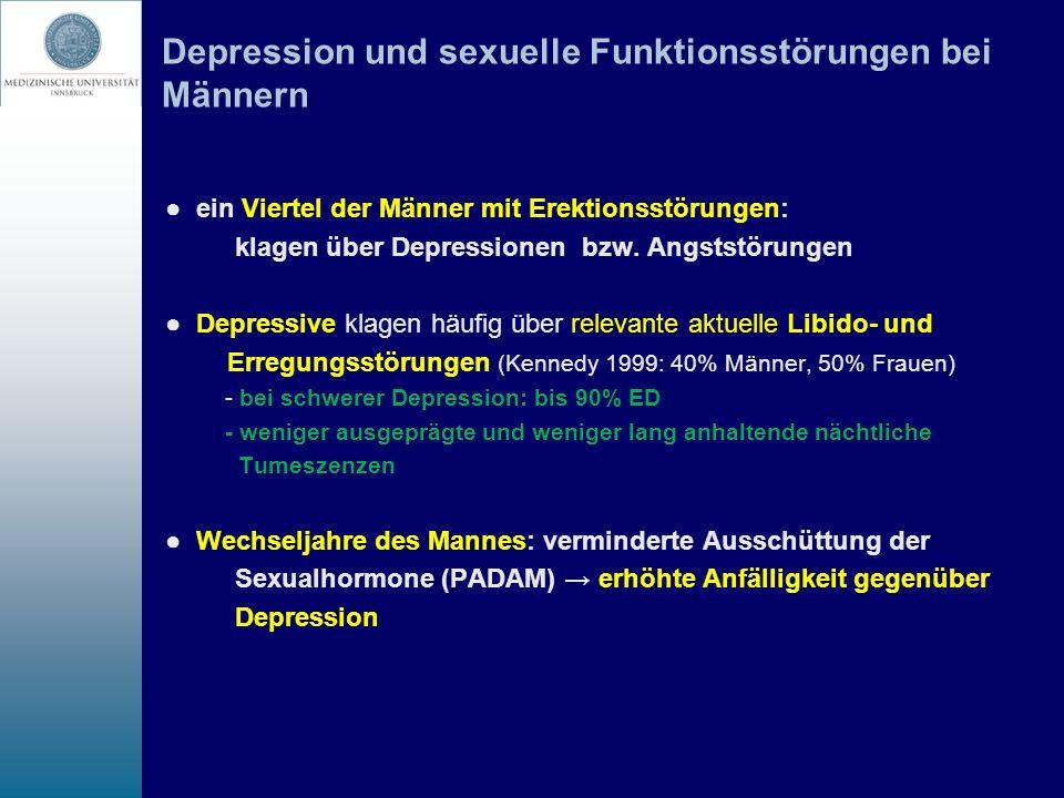 Depression und sexuelle Funktionsstörungen bei Männern ein Viertel der Männer mit Erektionsstörungen: klagen über Depressionen bzw. Angststörungen Dep