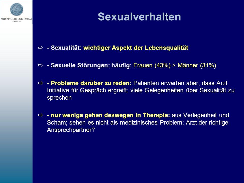 Krebs und sexuelle Probleme (1) sind häufig und multipel bedingt nach Hysterektomie: 16-33% verminderte Häufigkeit sexueller Aktivität und geringeres Ausmaß an sexueller Erregung nach kombinierter Strahlenbehandlung: 30-80% nach Mastektomie: 32-46% sexuelle Beeinträchtigungen, oft Störung des Körperbildes beeinträchtigen Lebensqualität und Partnerbeziehung
