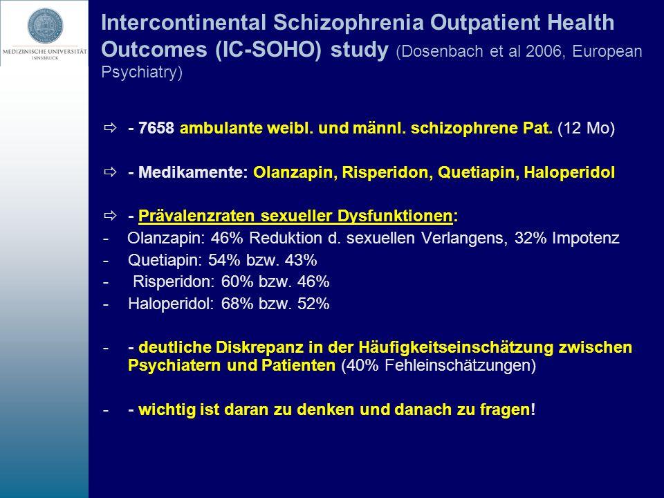 Intercontinental Schizophrenia Outpatient Health Outcomes (IC-SOHO) study (Dosenbach et al 2006, European Psychiatry) - 7658 ambulante weibl. und männ