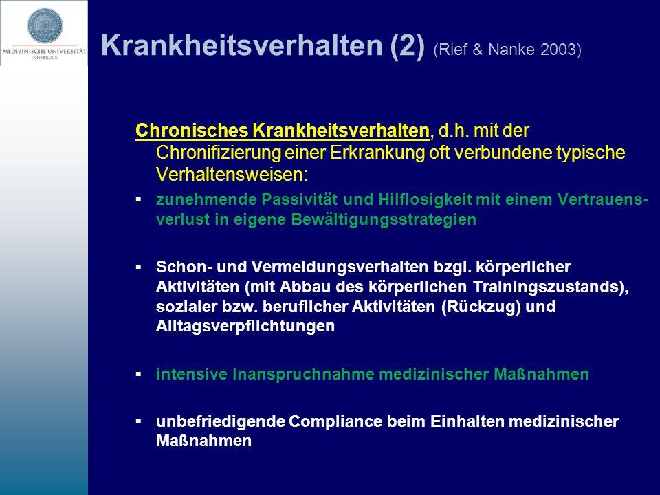 Krankheitsverhalten (2) (Rief & Nanke 2003) Chronisches Krankheitsverhalten, d.h. mit der Chronifizierung einer Erkrankung oft verbundene typische Ver
