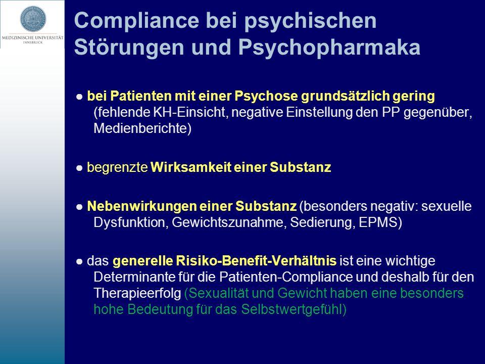 Compliance bei psychischen Störungen und Psychopharmaka bei Patienten mit einer Psychose grundsätzlich gering (fehlende KH-Einsicht, negative Einstell