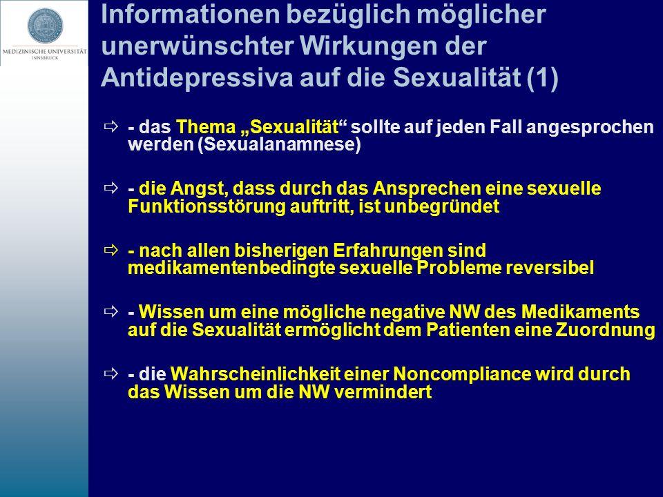 Informationen bezüglich möglicher unerwünschter Wirkungen der Antidepressiva auf die Sexualität (1) - das Thema Sexualität sollte auf jeden Fall anges