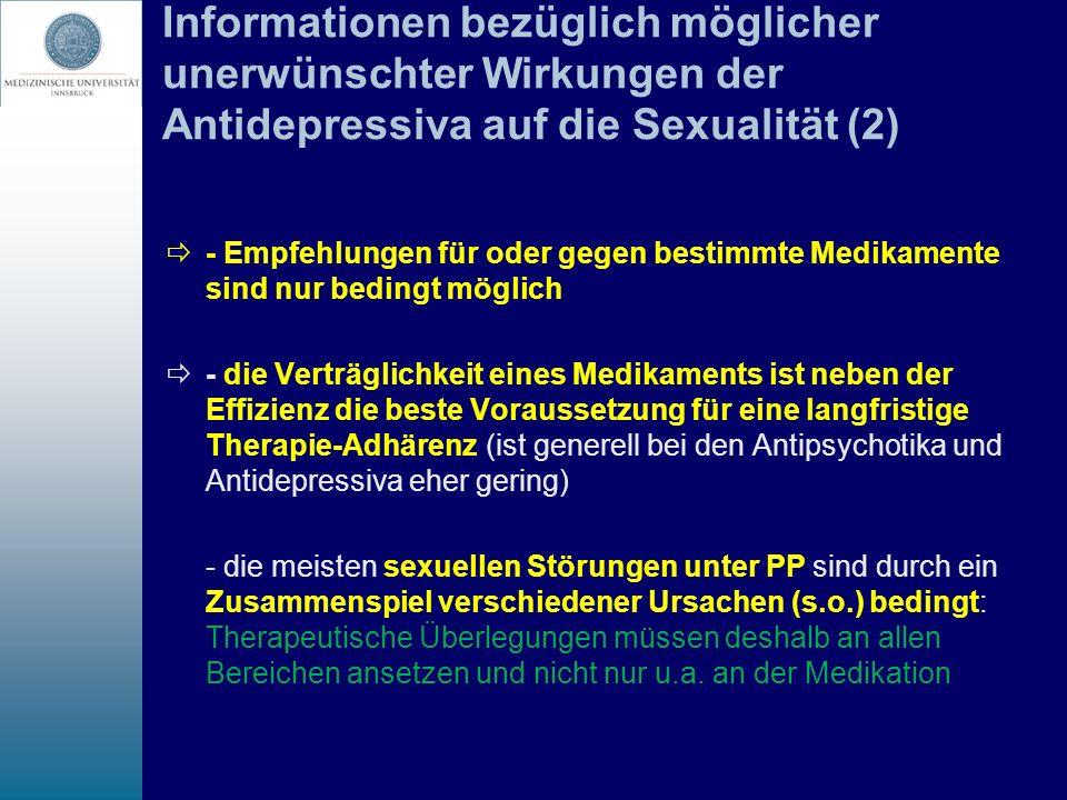 Informationen bezüglich möglicher unerwünschter Wirkungen der Antidepressiva auf die Sexualität (2) - Empfehlungen für oder gegen bestimmte Medikament