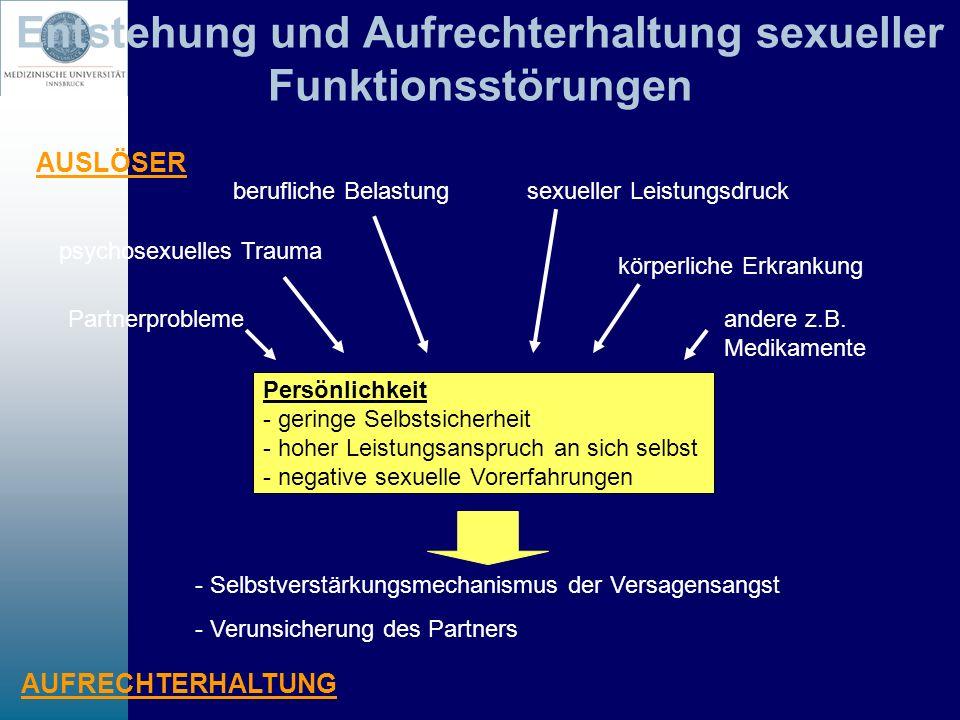 Entstehung und Aufrechterhaltung sexueller Funktionsstörungen Persönlichkeit - geringe Selbstsicherheit - hoher Leistungsanspruch an sich selbst - neg