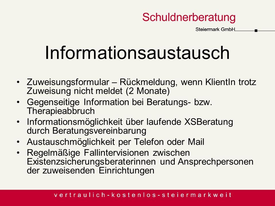Informationsaustausch Zuweisungsformular – Rückmeldung, wenn KlientIn trotz Zuweisung nicht meldet (2 Monate) Gegenseitige Information bei Beratungs-