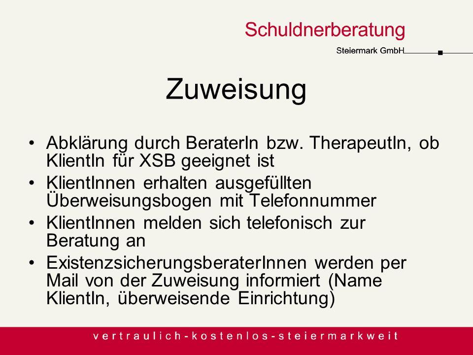 Zuweisung Abklärung durch BeraterIn bzw. TherapeutIn, ob KlientIn für XSB geeignet ist KlientInnen erhalten ausgefüllten Überweisungsbogen mit Telefon