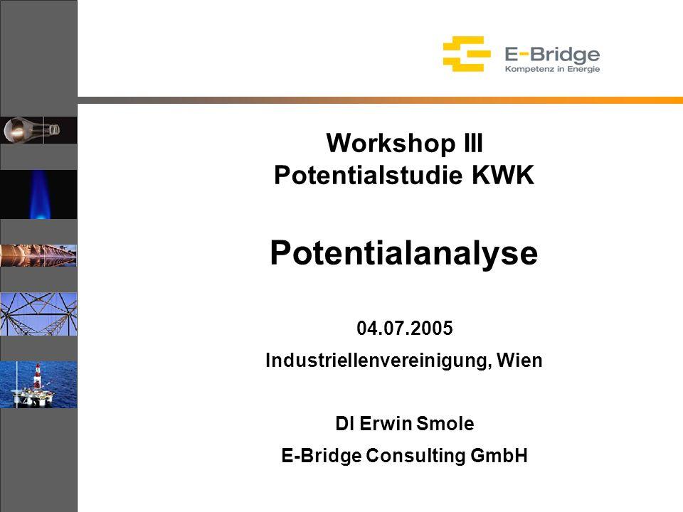 Workshop III Potentialstudie KWK Potentialanalyse 04.07.2005 Industriellenvereinigung, Wien DI Erwin Smole E-Bridge Consulting GmbH