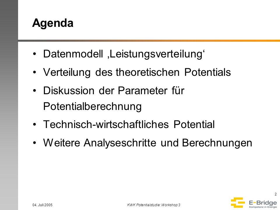 04. Juli 2005KWK Potentialstudie: Workshop 3 2 Agenda Datenmodell Leistungsverteilung Verteilung des theoretischen Potentials Diskussion der Parameter