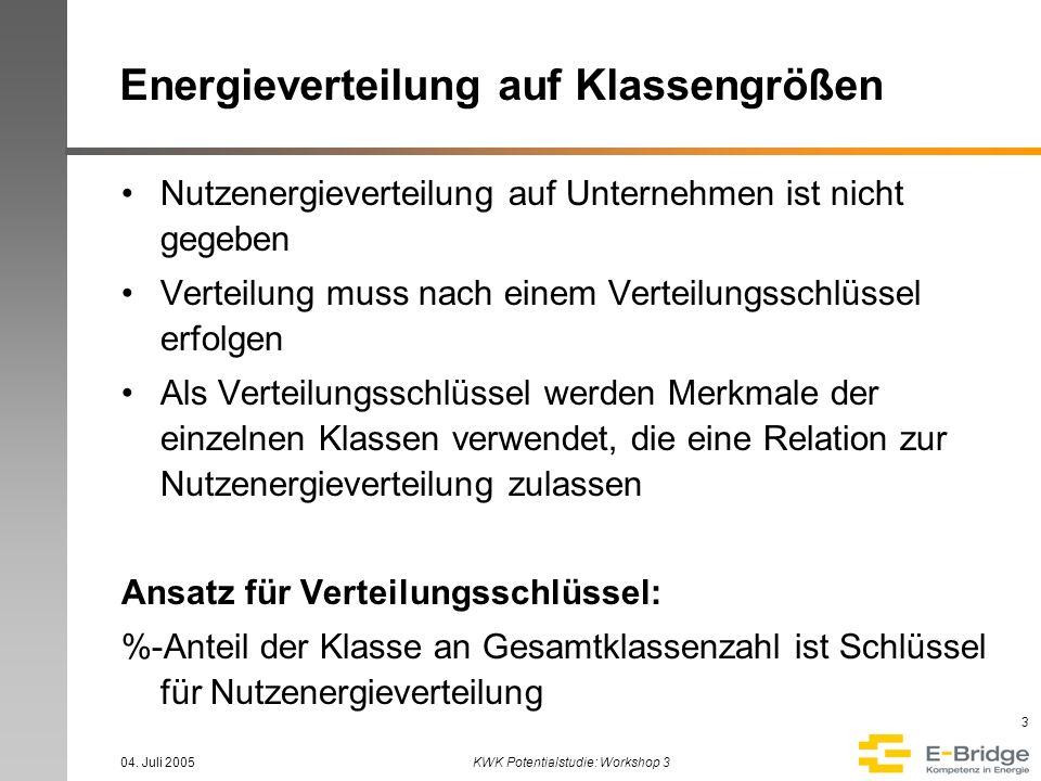 04. Juli 2005KWK Potentialstudie: Workshop 3 3 Energieverteilung auf Klassengrößen Nutzenergieverteilung auf Unternehmen ist nicht gegeben Verteilung