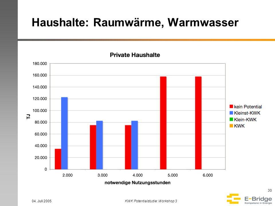 04. Juli 2005KWK Potentialstudie: Workshop 3 30 Haushalte: Raumwärme, Warmwasser