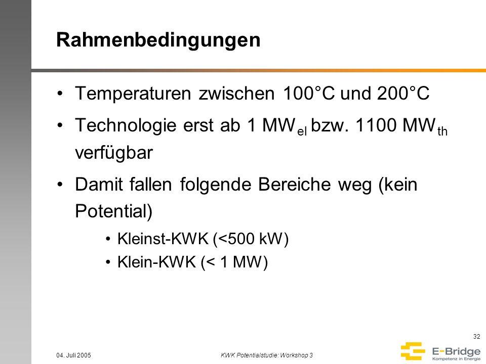 04. Juli 2005KWK Potentialstudie: Workshop 3 32 Rahmenbedingungen Temperaturen zwischen 100°C und 200°C Technologie erst ab 1 MW el bzw. 1100 MW th ve