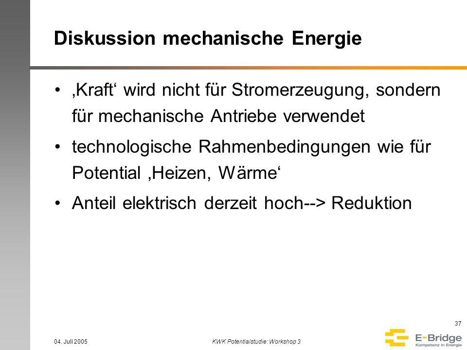 04. Juli 2005KWK Potentialstudie: Workshop 3 37 Diskussion mechanische Energie Kraft wird nicht für Stromerzeugung, sondern für mechanische Antriebe v