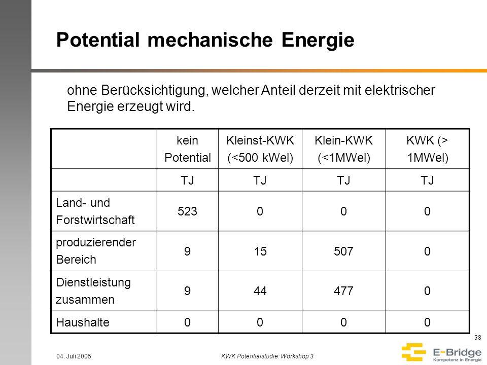 04. Juli 2005KWK Potentialstudie: Workshop 3 38 Potential mechanische Energie kein Potential Kleinst-KWK (<500 kWel) Klein-KWK (<1MWel) KWK (> 1MWel)