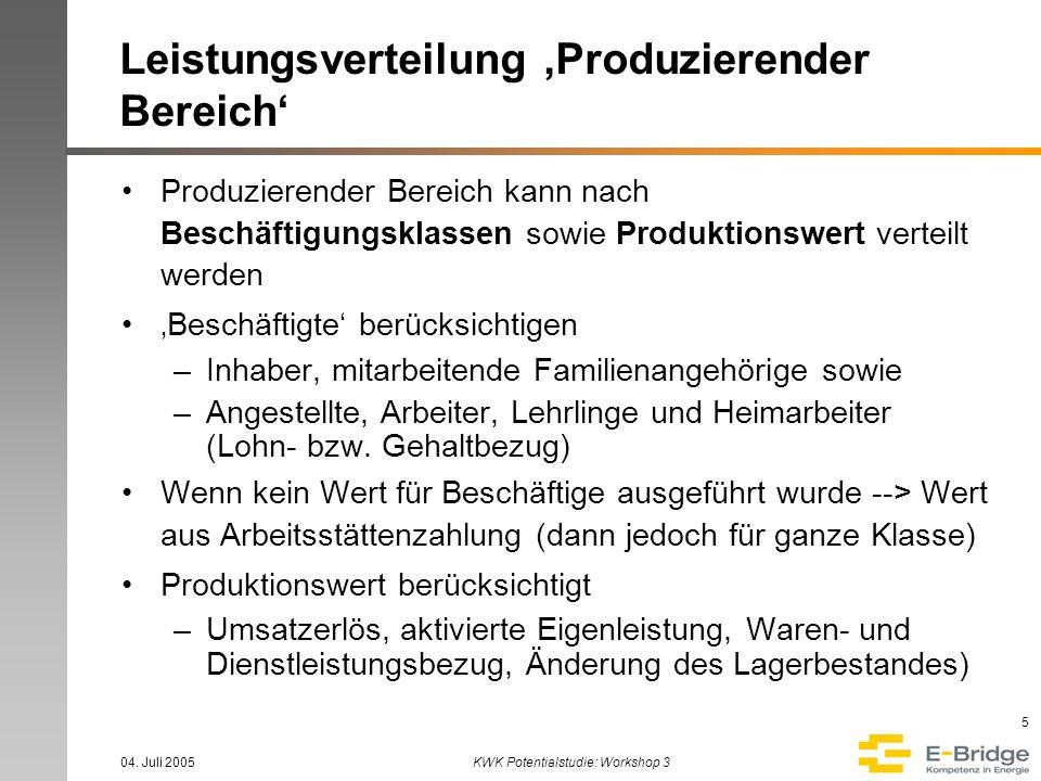 04. Juli 2005KWK Potentialstudie: Workshop 3 5 Leistungsverteilung Produzierender Bereich Produzierender Bereich kann nach Beschäftigungsklassen sowie